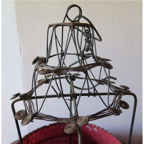 """Chinese Lantern, Metal Wire Frame & Red Fabric Shade w/Stand 30"""" Tall"""