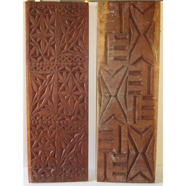 "Qty 2 Wood Carved Panels Signed M Chun 36"" x 12"""