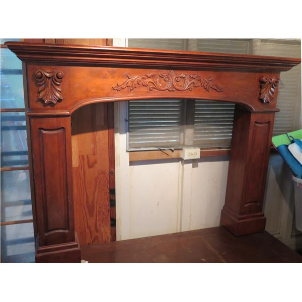 """Wooden Fireplace Mantel w/ Raised Design Instructions included 47"""" x 65"""" x 10"""""""