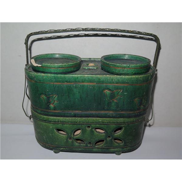 "Asian Ceramic w/ Metal Handle Bird Motif Green Stamped Fujibayashi  7"" Tall"
