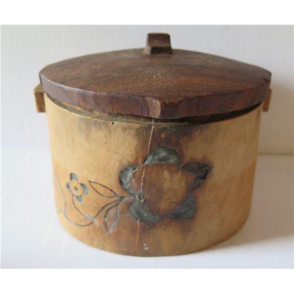 """Wooden Lidded Jar  w/ Inlaid Floral Motif 7"""" Tall"""
