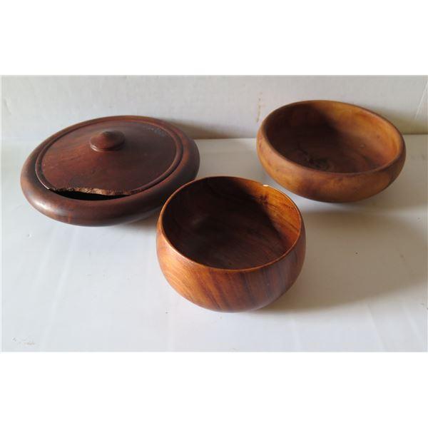 Qty 3 Turned Wooden Bowls, Lidded Kiawe Signed House of Kalai, Milo & Koa Signed Blair HI