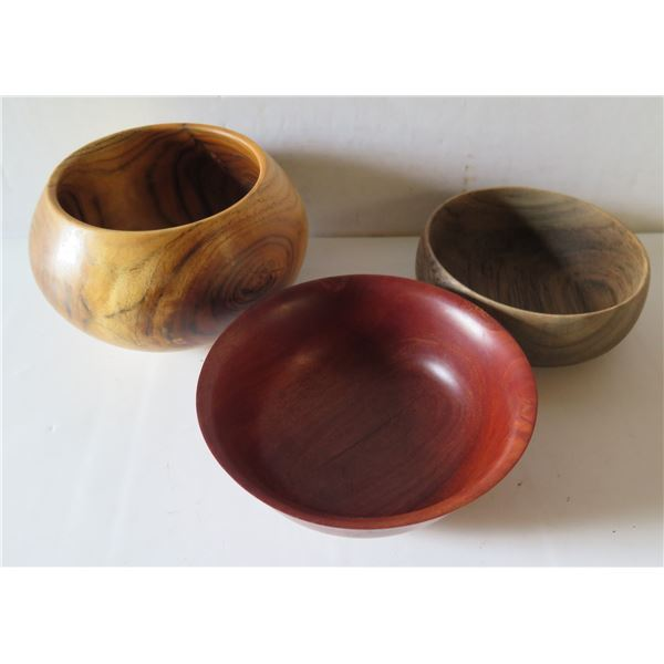 Qty 3 Turned Wooden Bowls, Misc Wood, Signed