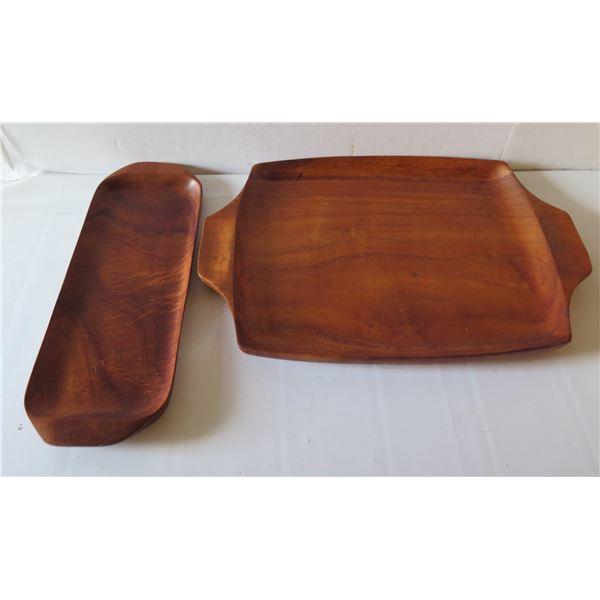 Qty 2 Wooden Serving Platters, Koa, Signed House of Kauai