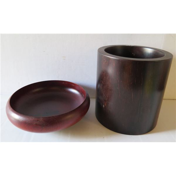 Qty 2 Wooden Bowl and Cup, Black Painted Asian Design Maker's Mark