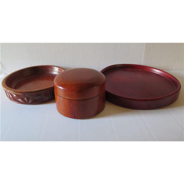 Qty 3 Wooden Dishes & Trinket Box, Banana Republic