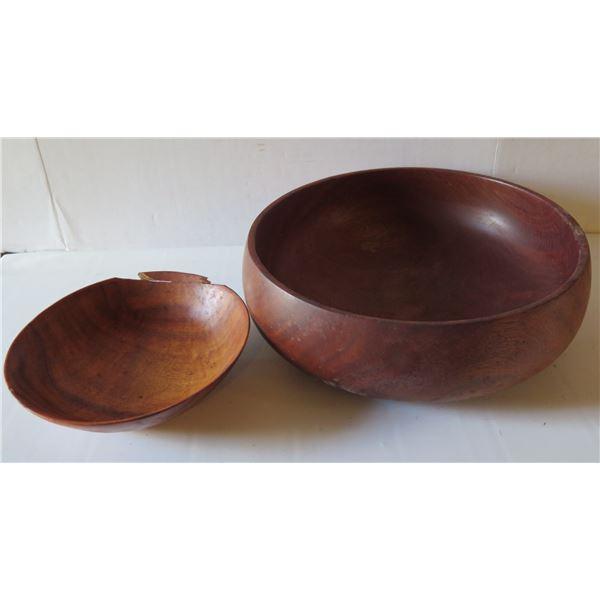 "Qty 2 Turned Wooden Bowls, Koa House of Kalai 13"" Dia, Kamani House of Kalai 7.5"" Dia"