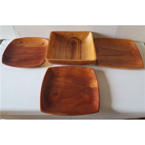 "Qty 4 Wooden Serving Platters, Kamani Square 10"" W"