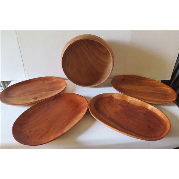 "Qty 5 Wooden Serving Platters & Bowl Yellow Poinciana House of Kalai 10"" Dia, Kamani 14"" W"