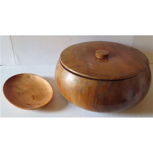 """Qty 2 Turned Wooden Bowl w/Lid  13"""" Dia & Plate 10"""" Dia"""