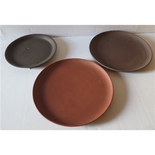 Qty 3 Asian Clay Plates, Misc Sizes Rust/Brown Maker's Mark