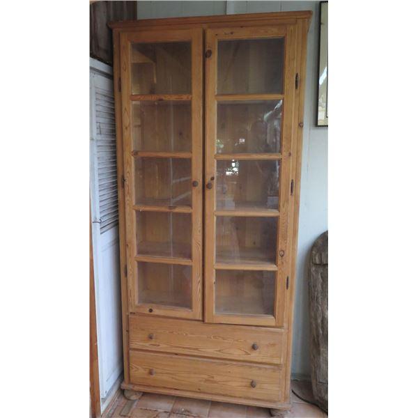 "Tall Wooden Cabinet w/ Glass Doors, 5 Shelves 2 Drawers 36"" x 13"" x 79"""