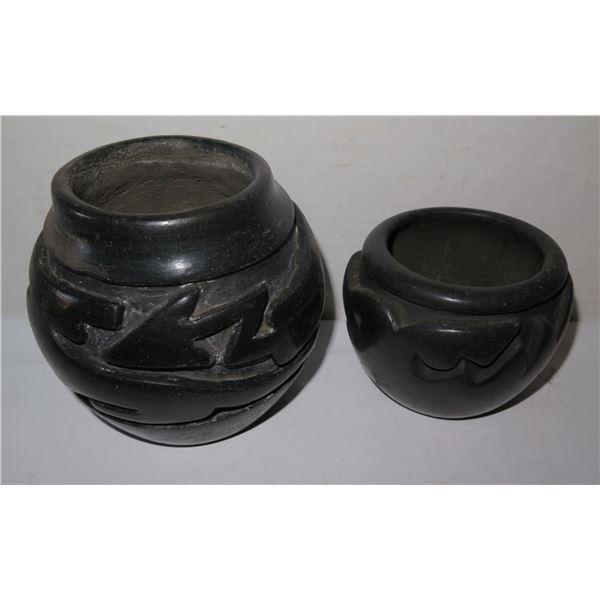 Qty 2 Santa Clara Blackware Vases w/Raised Design Signed Margaret Tafoya