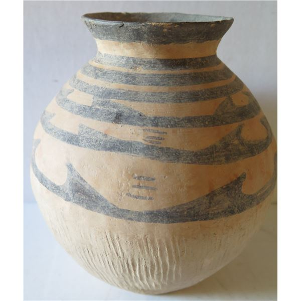 """Clay Vase, Etched Tan/Black 9.5"""" Tall"""