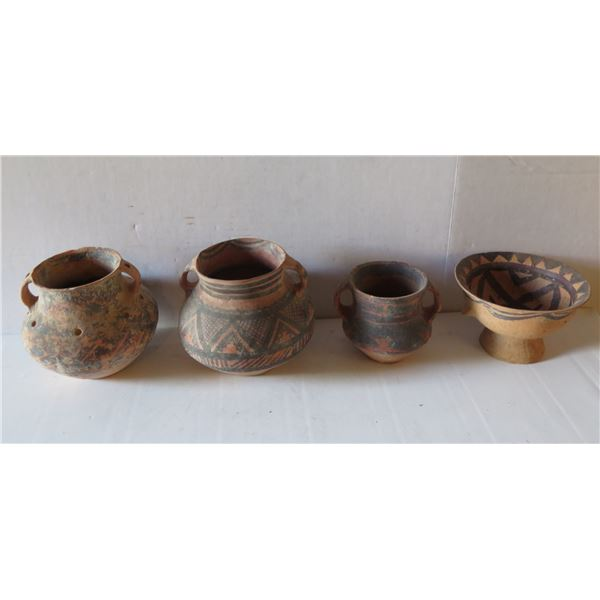 Qty 4 Painted Clay Vases, 3 w/ Handles, Misc Sizes