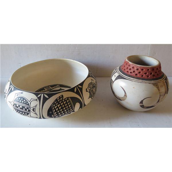 Qty 2 Native American Pueblo Clay Bowl Signed Malcom Chun & Jar Signed Carol Namoki