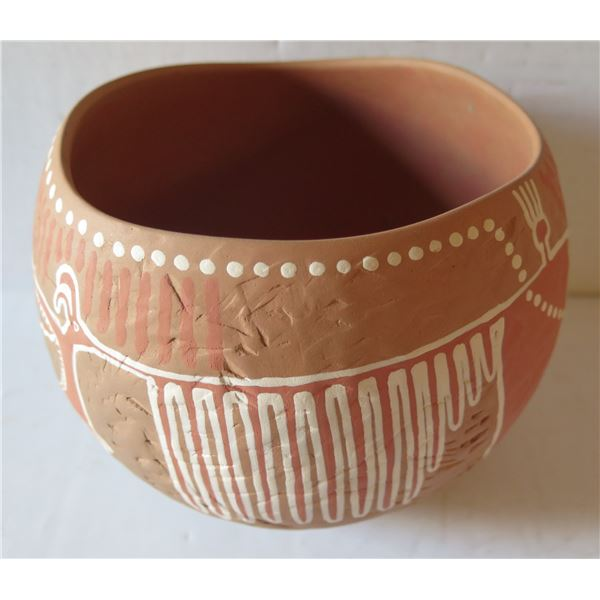 "Clay Bowl, Handpainted Terracotta, Signed Shawn Tafoya 6"" Tall"