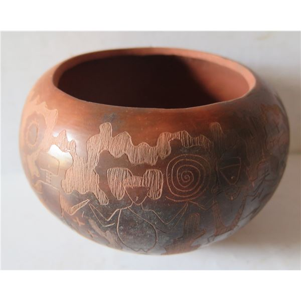 """Clay Bowl, Hand made Inscribed Contemporary Design Signed R Martinez 4"""" Tall"""