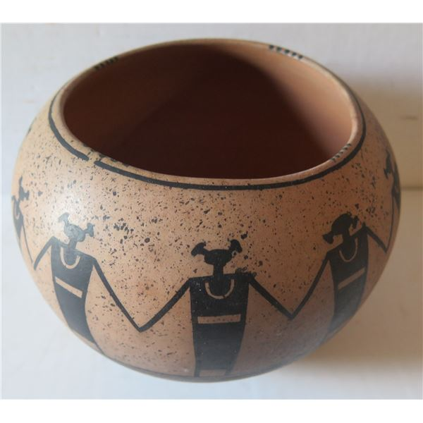 """Native American Indian Santa Clara Clay Bowl,Hand Painted Signed Shawn Tafoya 6"""" Tall"""