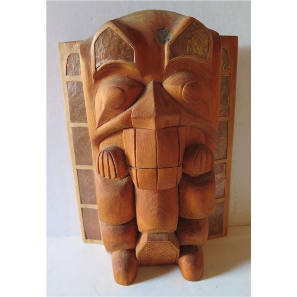 """Wood Carved Wooden Tiki, Signed by Artist 11.5"""" Tall"""