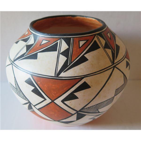"Native American Indian Acoma Pueblo Clay Bowl, Signed Malcolm Naea Chun 9"" Tall"