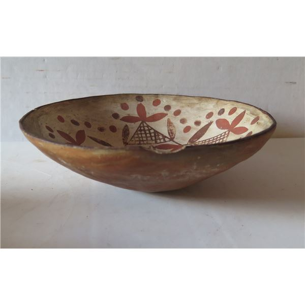 """Clay Bowl, Terracotta w Hand Painted Design Chipped Edge 7"""" Dia"""