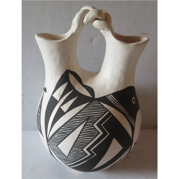 """Native American Indian Acoma Wedding Vase w/ Twisted Handle, Signed M S Juanico 7.5"""" Tall"""
