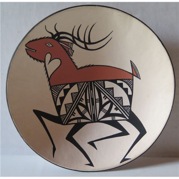 """Native American Indian Santo Domingo Sioux Clay Plate Signed Dean Reano 5.5"""" Dia"""