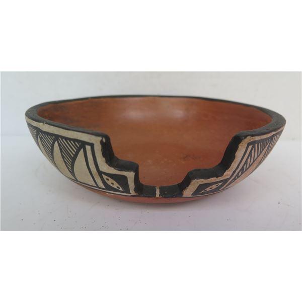 "Native American Indian Pueblo Clay Bowl w/ Cut Out, Signed Alvina Garcia 8""Diam"