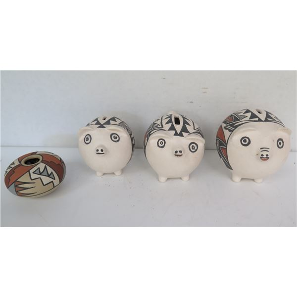 Qty 4 Native American Indian Clay Piggy Banks & Seed Pot