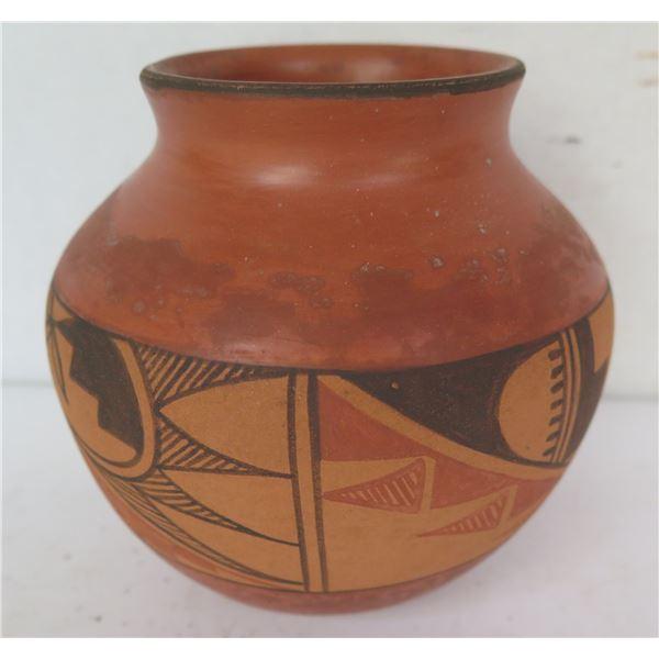 "Native American Indian Jemez Pueblo Clay Vase, Signed B J Fragua 5"" Tall"