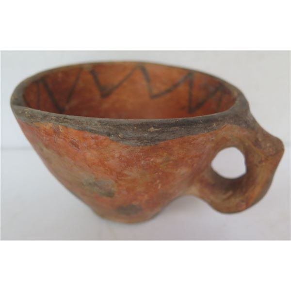 """Native American Indian Clay Cup w/ Handle, 3"""" Tall"""