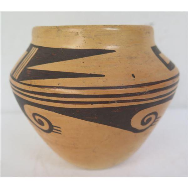 "Native American Indian Small Clay Jar, Black Geometric 4"" Tall"