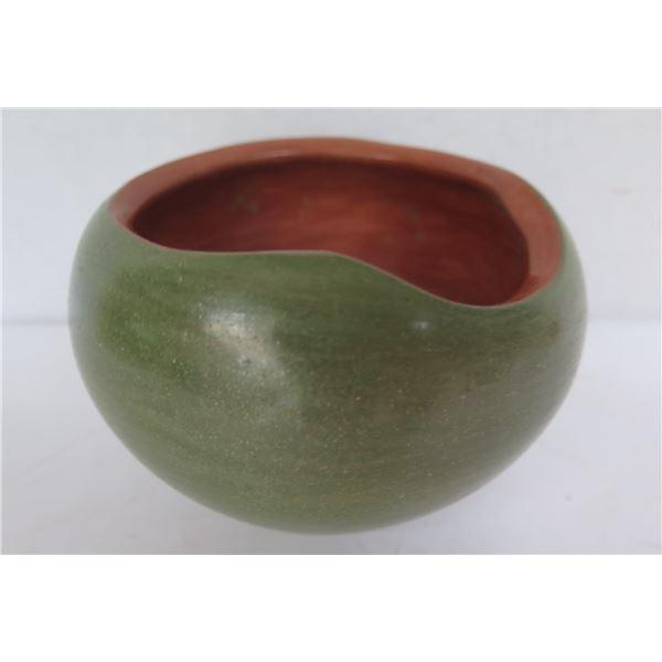 """Ceramic Pot w/ Free Form Lip, Green/Rust, Signed 3.5"""" Tall"""