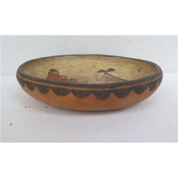 "Native American Indian Clay Dish, Red/Black on White Geometric Motif 6.5"" Dia"
