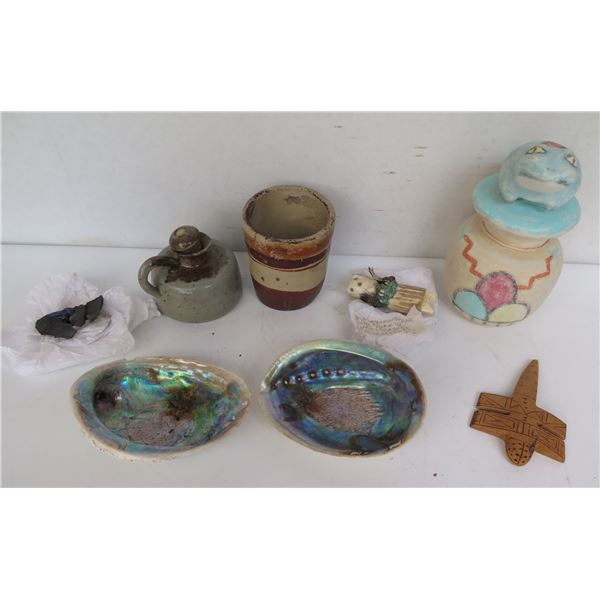 Qty 8 Misc: 2 Abalone Shells, Wood Figurine,  Candle, Cup, Rock Shards, Stone Sculpture, Lidded Jar