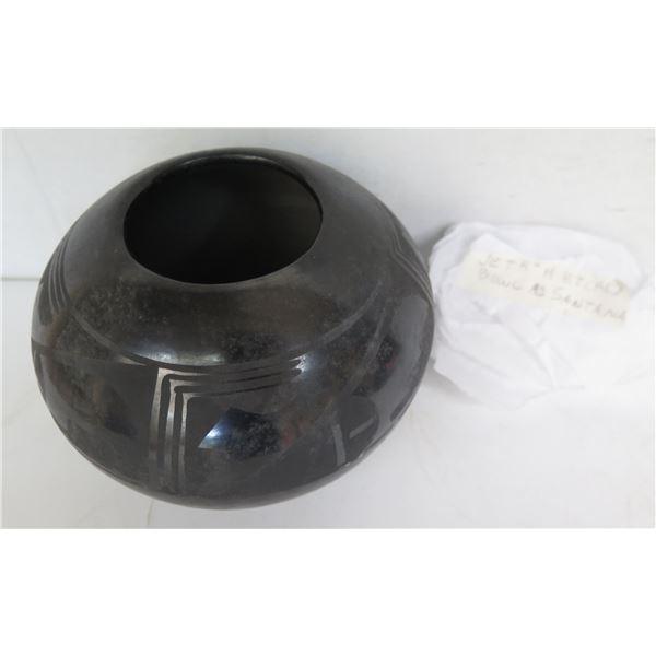 "Native American Indian Ceramic Bowl w/ Etching,  Black Signed Santana 5"" Tall"