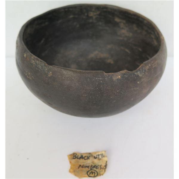 "Native American Indian Mimbres Ceramic Bowl, Black 6"" Dia"