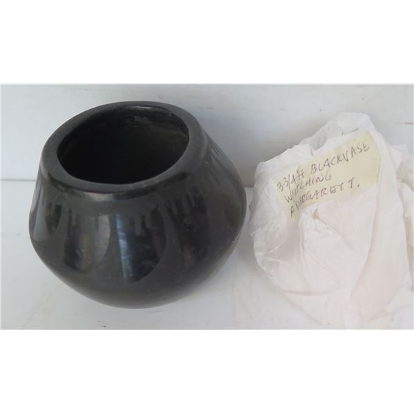 """Native American Indian Cup, Black Signed Margaret 3"""" Tall"""