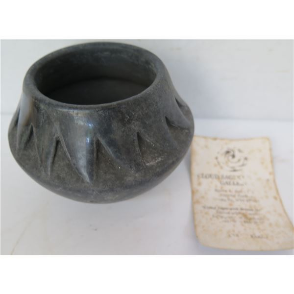 "Native American San Ildefonso Pueblo Ceramic Pot w/ Raised Geometric Motif, Signed 3"" Tall"