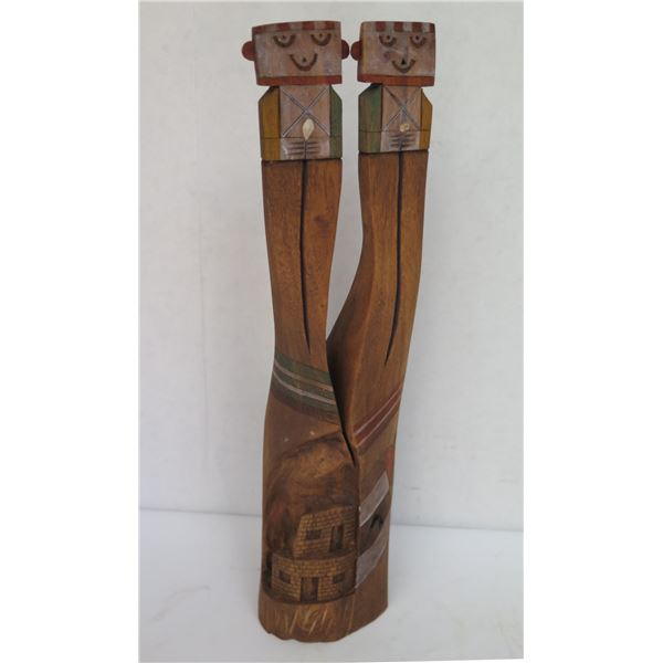 """Wooden Figurine w/2 People, Carved Building Design on Back, Signed Ted Francis 11"""" Tall"""