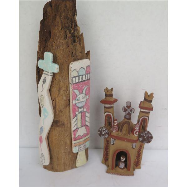 Qty 2 Figurines, Wood w/ Ceramic Designs, Clay House Figurine From Peru