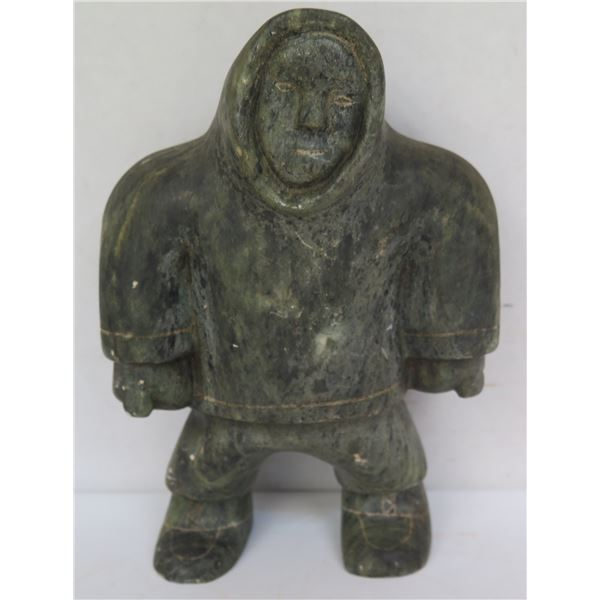 """Carved Stone Figurine, Man Etched Design Signed 8.5"""" Tall"""