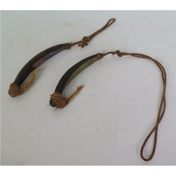 "Qty 2 Vintage Wooden Fish Hooks 5"""