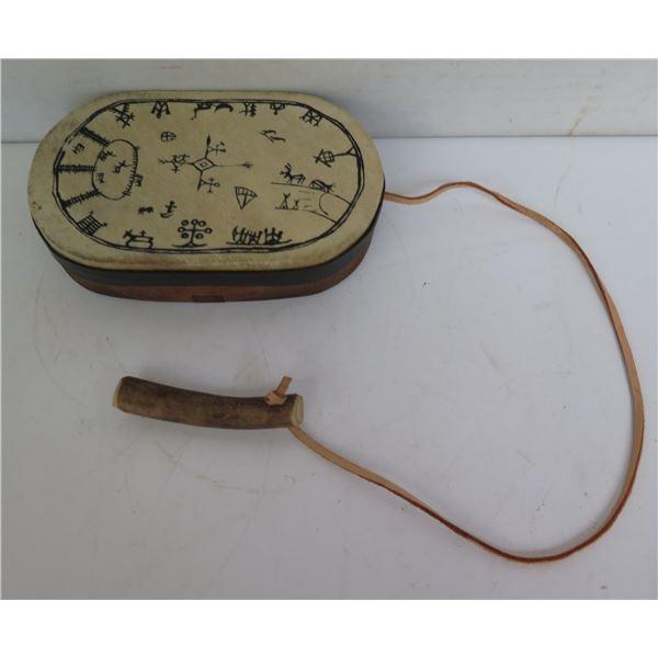 Wood & Skin Hand Drum w/ Attached Drum Stick, Black Painted Design