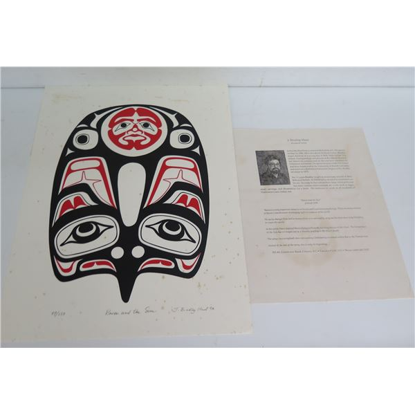 "Native American Art, Limited Edition ""Raven & The Sun"" Signed J Bradley Hunt 12"" x 16""(98/250)"