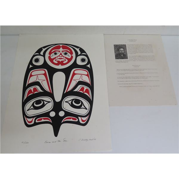 "Native American Art, Limited Edition ""Raven & The Sun"" Signed J Bradley Hunt 12"" x 16""(97/250)"