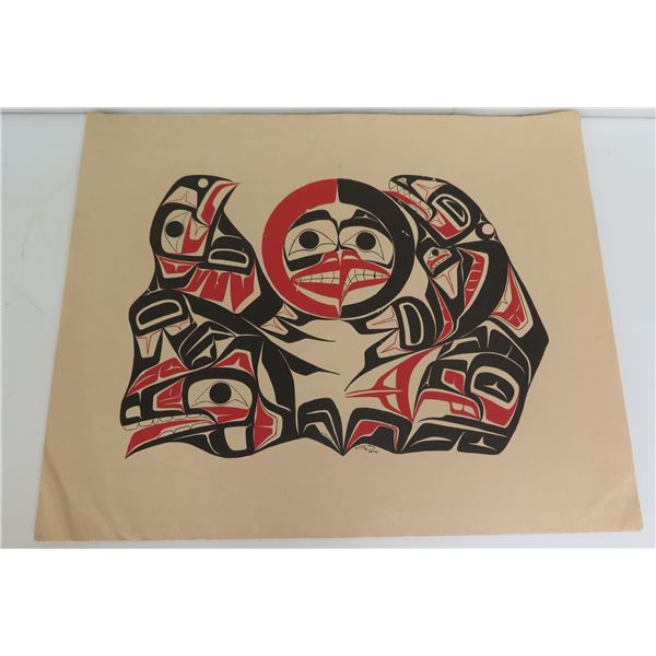 """Native American Art, Black/Red/White Animal Collage Signed Shirley Stanley 17' x 14"""""""