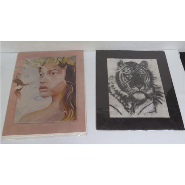 "Qty 2 Poster Art, Hawaiian Wahine 11"" x 14"", Tiger Black/White 12"" x 13.5"""