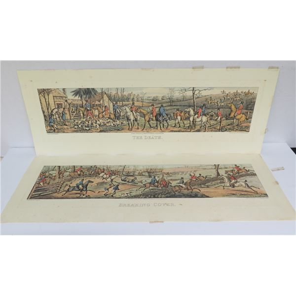 """Qty 2 """"Breaking Cover"""" """"The Death"""" Prints Published London 1824 27.5"""" x 10"""""""